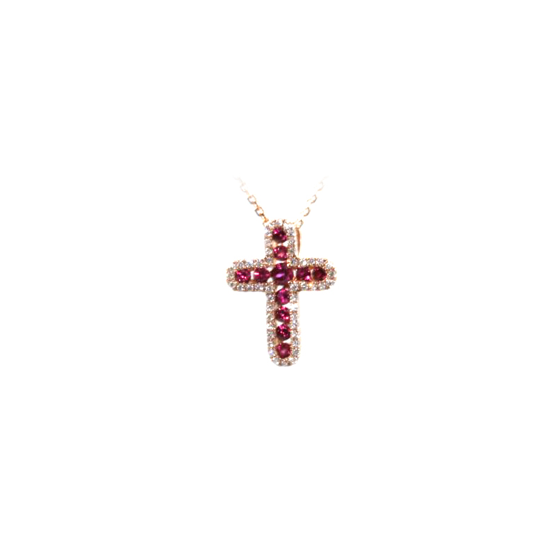 14 Karat Rose Gold Ruby and Diamond Cross Pendant Necklace