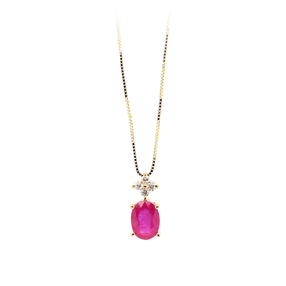 Ryan Gems 14 Karat Yellow Gold Ruby and Diamond Pendant Necklace