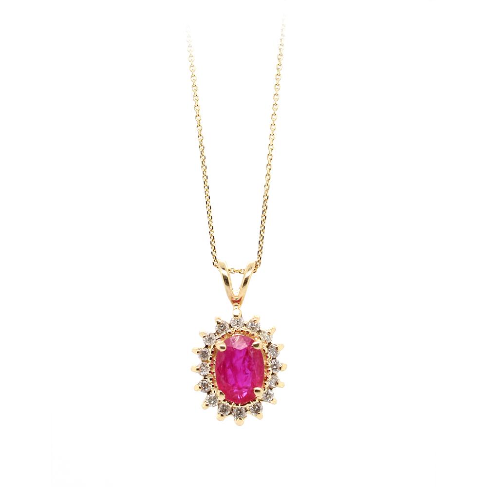 Ryan Gems 14 Karat Yellow Gold Ruby and Diamond Pendant Necklace