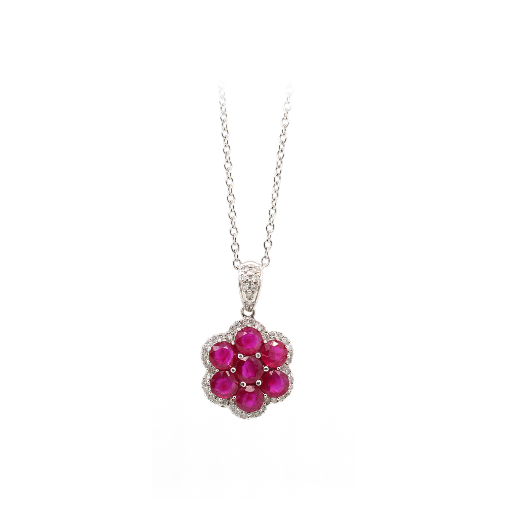 Ryan Gems 14 Karat White Gold Ruby and Diamond Flower Pendant Necklace