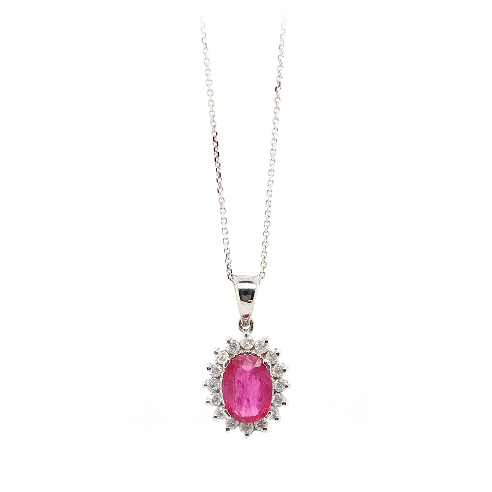Ryan Gems 14 Karat White Gold Ruby and Diamond Pendant Necklace
