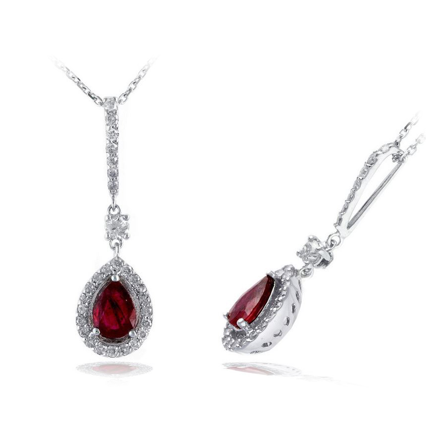 Ryan Gems 14 Karat White Gold Pear Shaped Ruby and Diamond Pendant Necklace