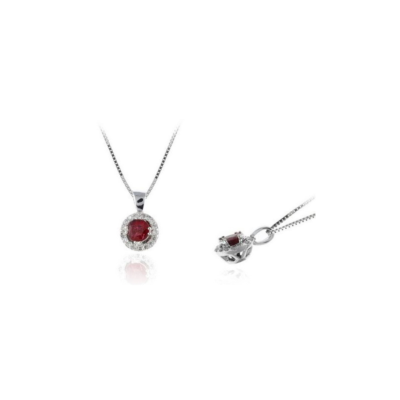 Ryan Gems 14 Karat White Gold Round Ruby and Diamond Pendant Necklace