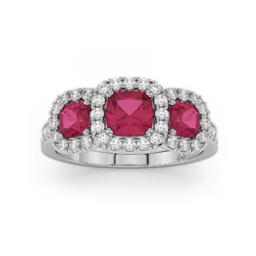 Amden Jewelry 14 Karat White Gold Diamond and Ruby Band