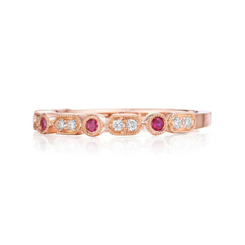 Henry Daussi 14 Karat Rose Gold Diamond and Ruby Wedding Band
