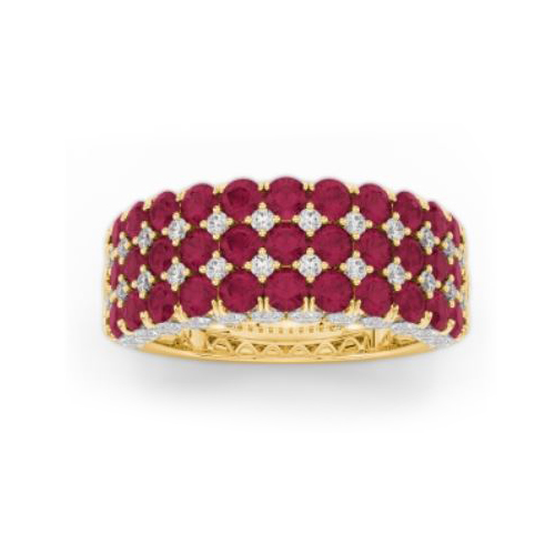 Amden Jewelry Seamless Collection 18 Karat Yellow Gold Five Row Diamond and Ruby Band