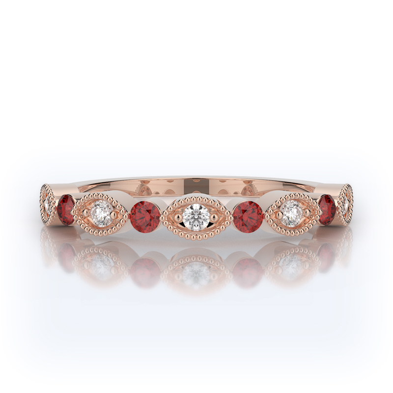 Henry Daussi 14 Karat Rose Gold Diamond and Ruby Wedding Band