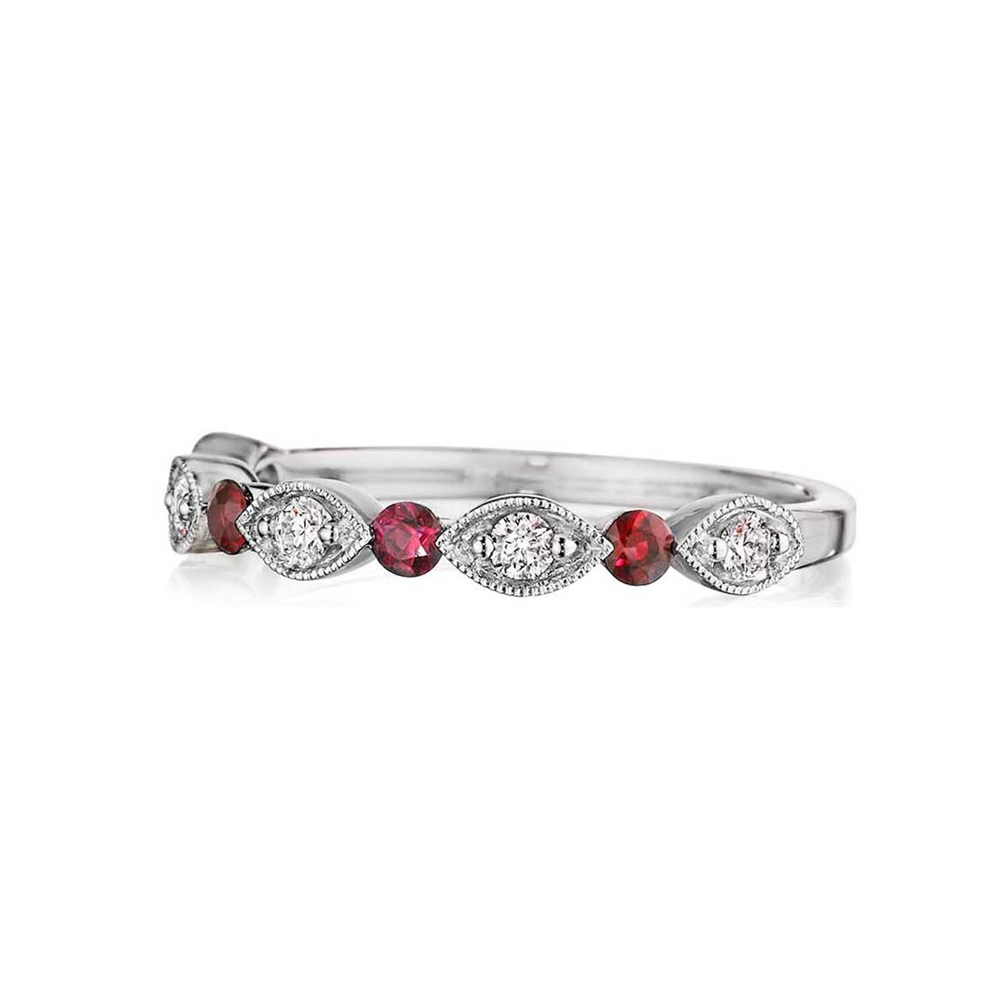 Henri Daussi 18 Karat White Gold Ruby and Diamond Wedding Band