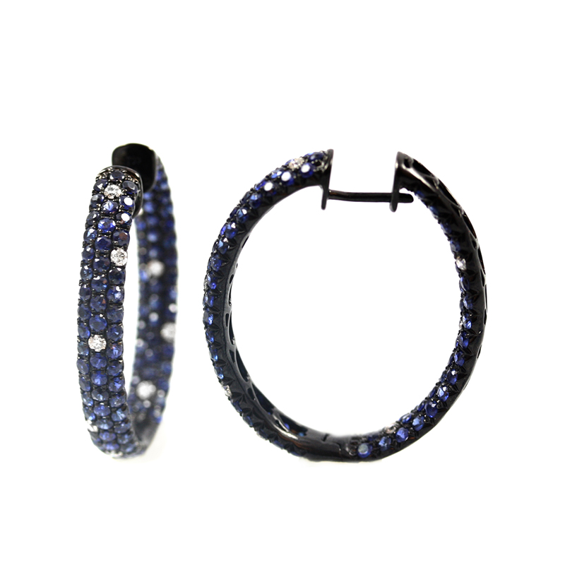 18 Karat black rhodium inside out oval diamond and sapphire hinged hoop earrings.