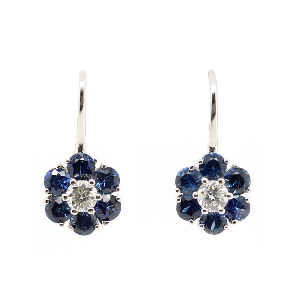 Ryan Gems 14 Karat White Gold Blue Sapphire and Diamond Flower Earrings