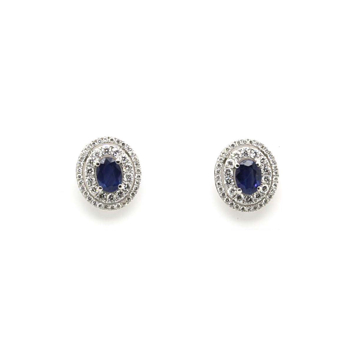 14 Karat White Gold Oval Blue Sapphire and Diamond Earrings