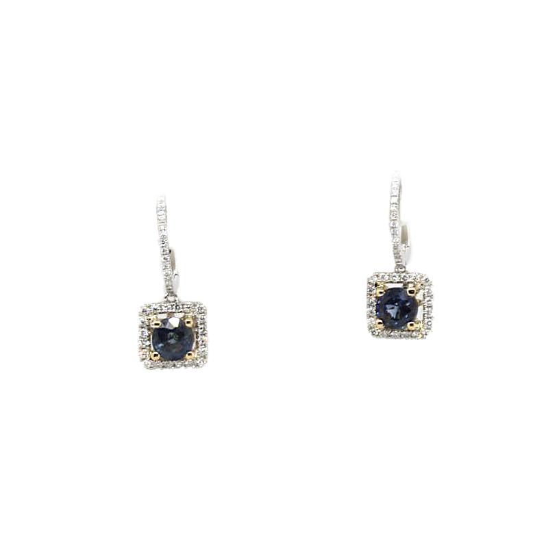 18 Karat White Gold Blue Sapphire and Diamond Square Dangle Earrings