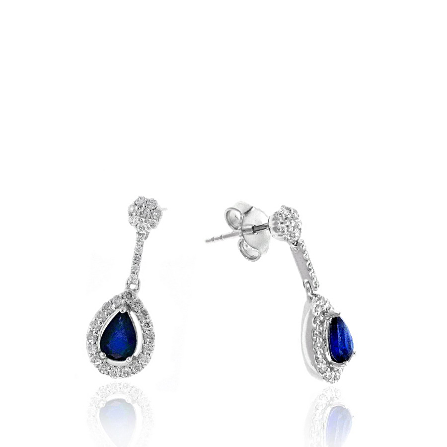 Ryan Gems 14 Karat White Gold Blue Sapphire and Diamond Dangle Earrings
