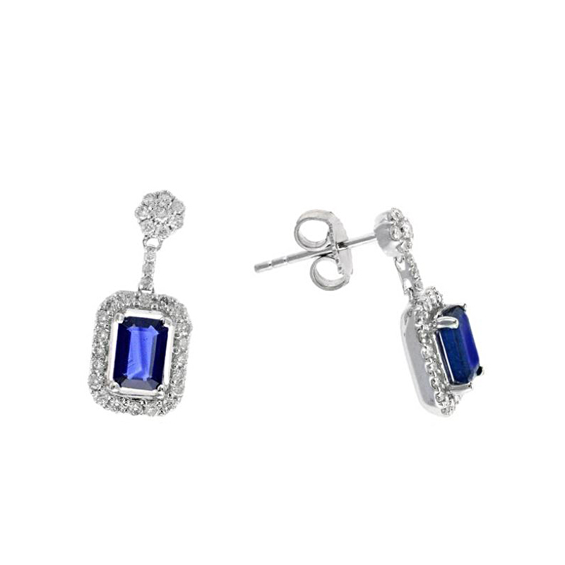 Ryan Gems 14 Karat White Gold Sapphire and Diamond Dangle Earrings