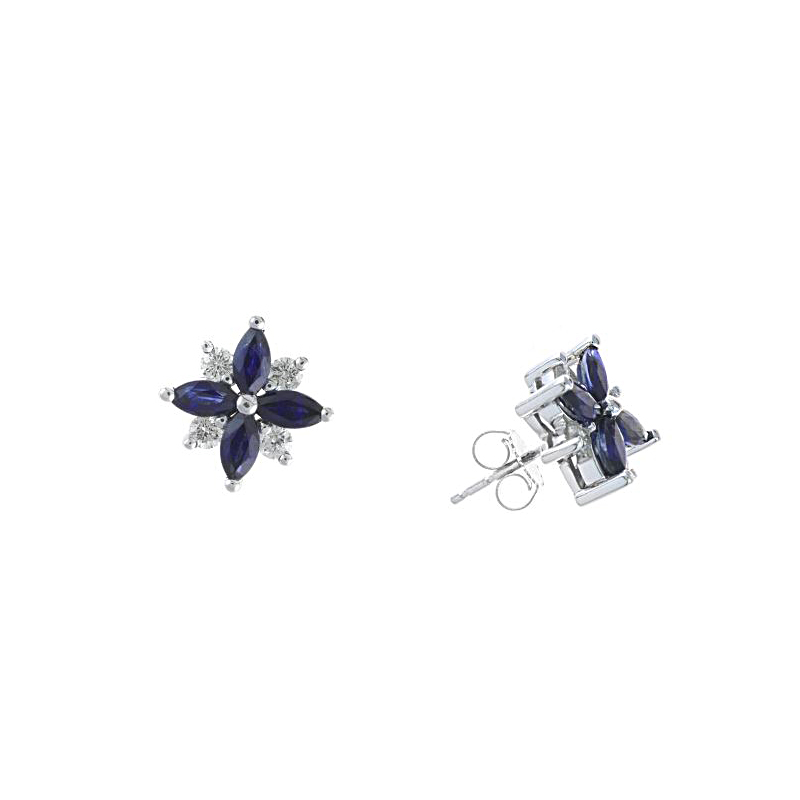 Ryan Gems 14 Karat White Gold Sapphire and Diamond Flower Stud Earrings