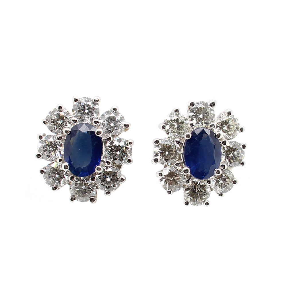 Ryan Gems 14 Karat White Gold Sapphire and Diamond Earrings