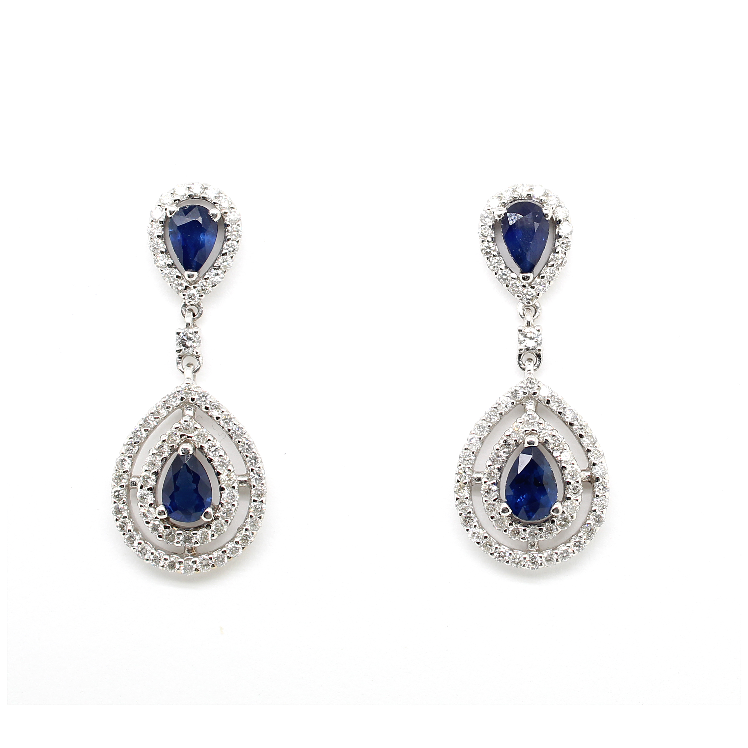 Ryan Gems 14 Karat White Gold Sapphire and Diamond Drop Earrings
