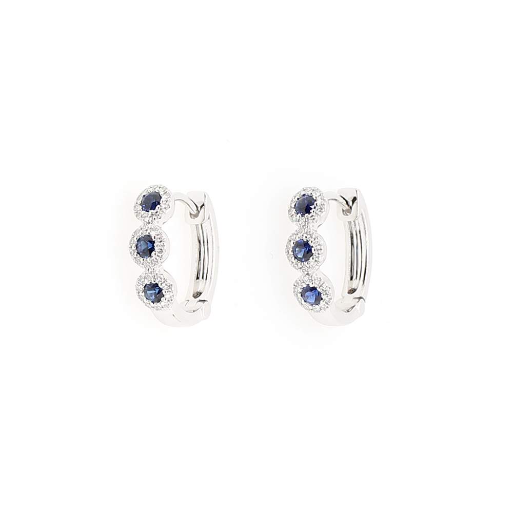 14 Karat White Gold Diamond and Sapphire Huggie Earrings