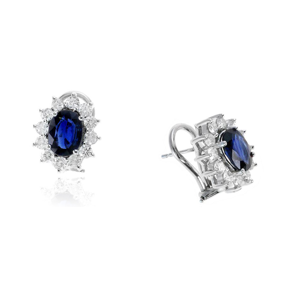Ryan Gems 14 Karat White Gold Oval Blue Sapphire and Diamond Earrings