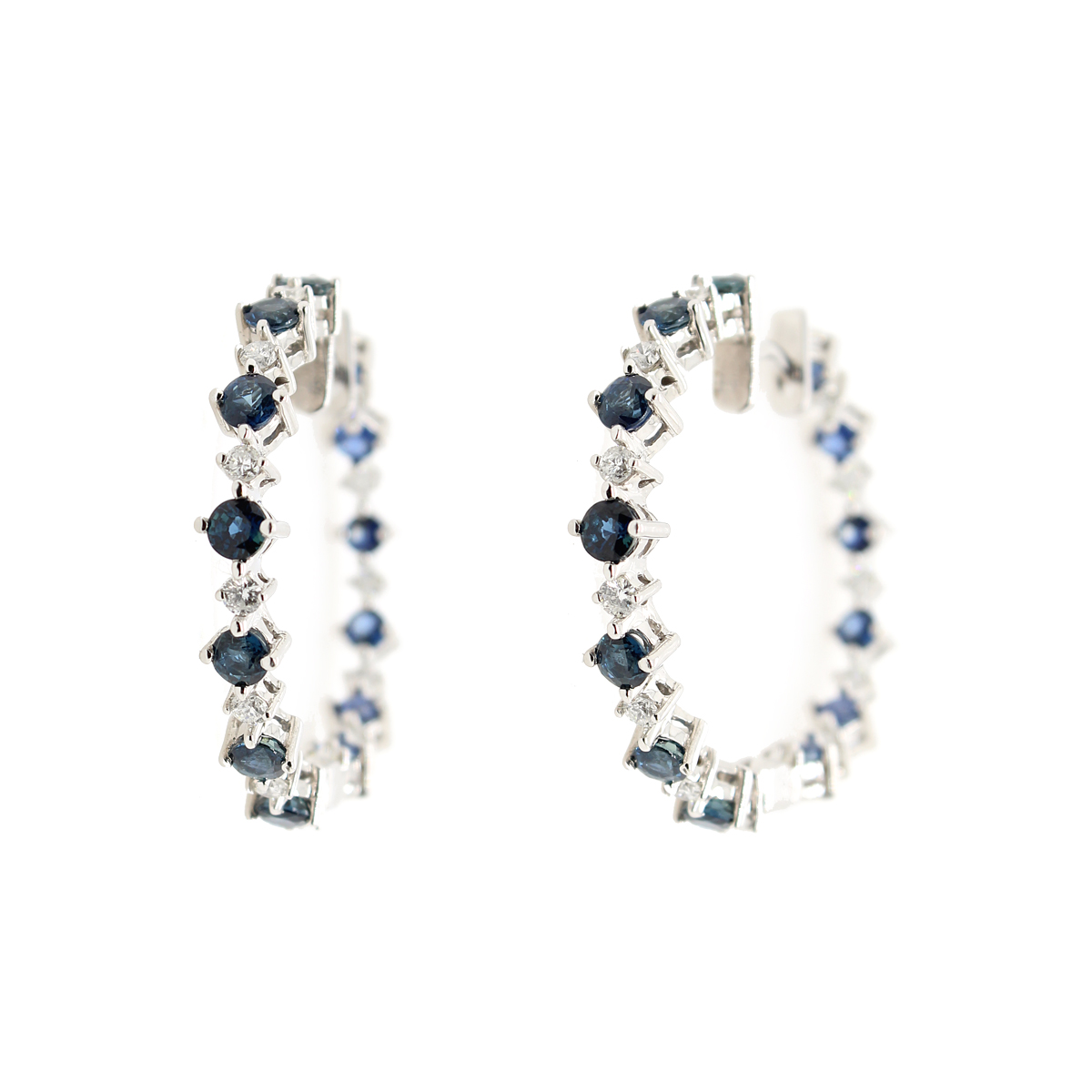 Ryan Gems 14 Karat White Gold Blue Sapphire and Diamond Inside Out Earrings