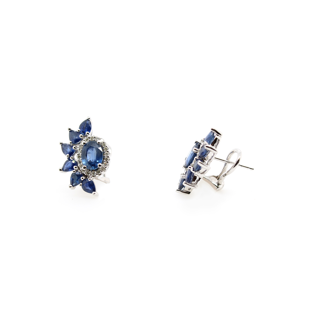 Ryan Gems 14 Karat White Gold Blue Sapphire and Diamond Earrings
