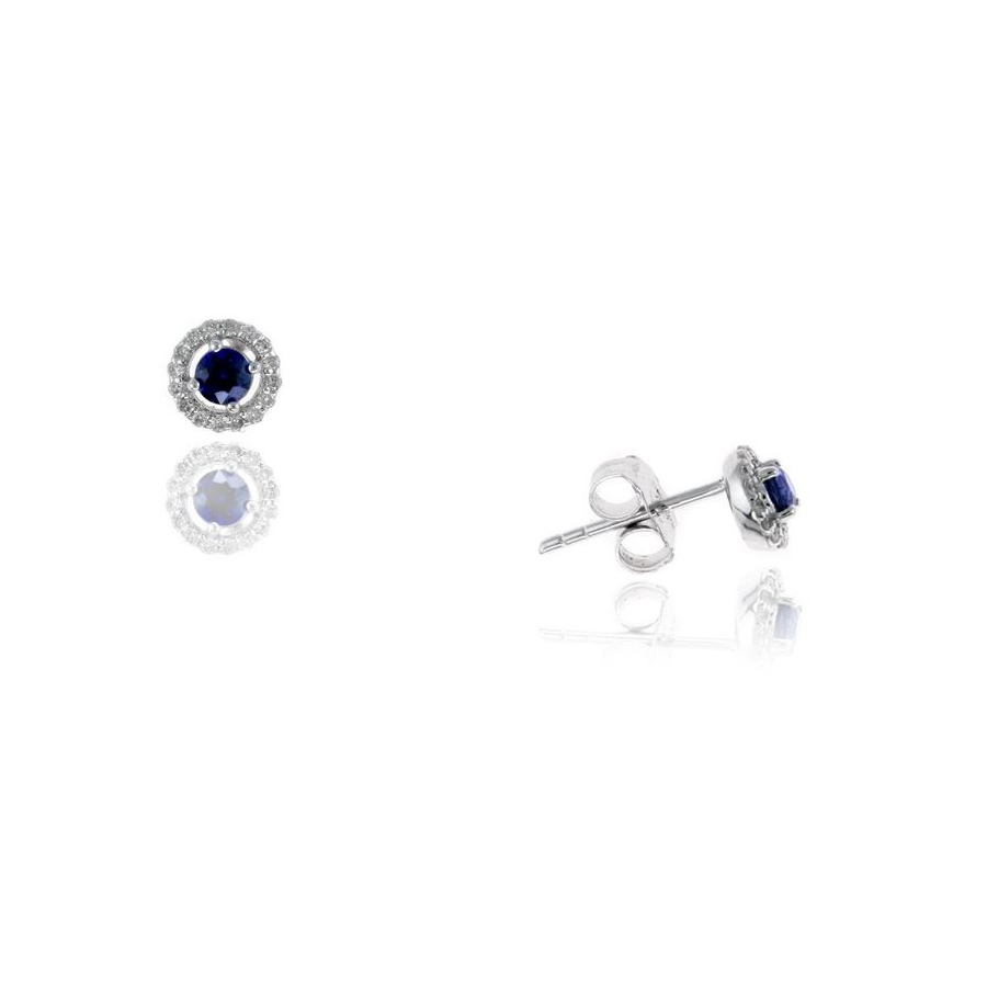 Ryan Gems 14 Karat White Gold Blue Sapphire and Diamond Stud Earrings