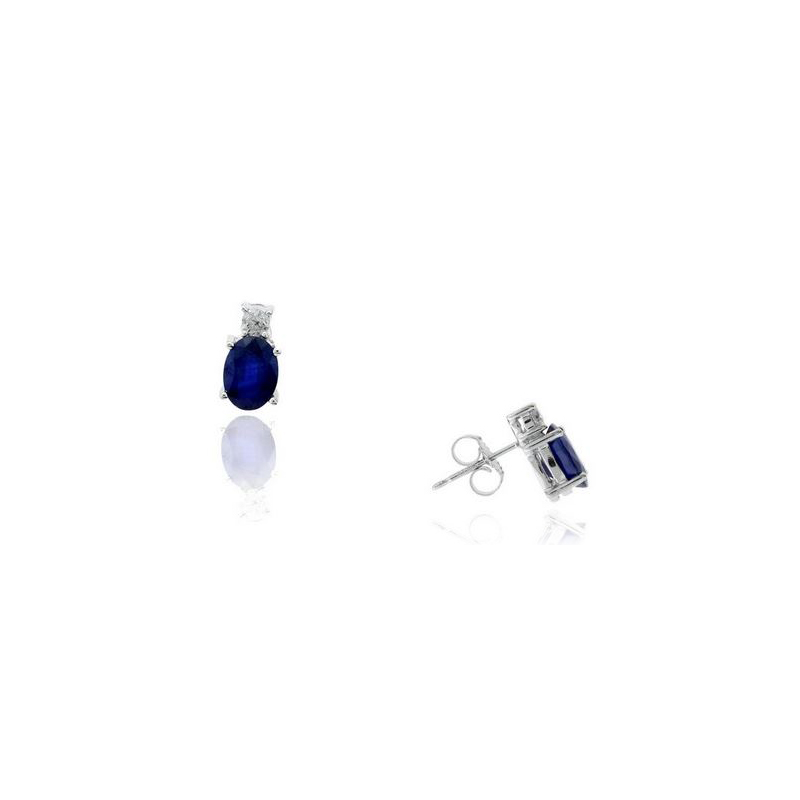 Ryan Gems 14 Karat White Gold Oval Blue Sapphire and Diamond Stud Earrings
