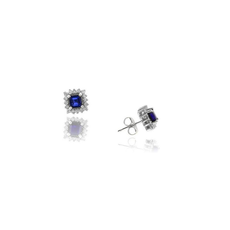 Ryan Gems 14 Karat White Gold Square Blue Sapphire and Diamond Stud Earrings