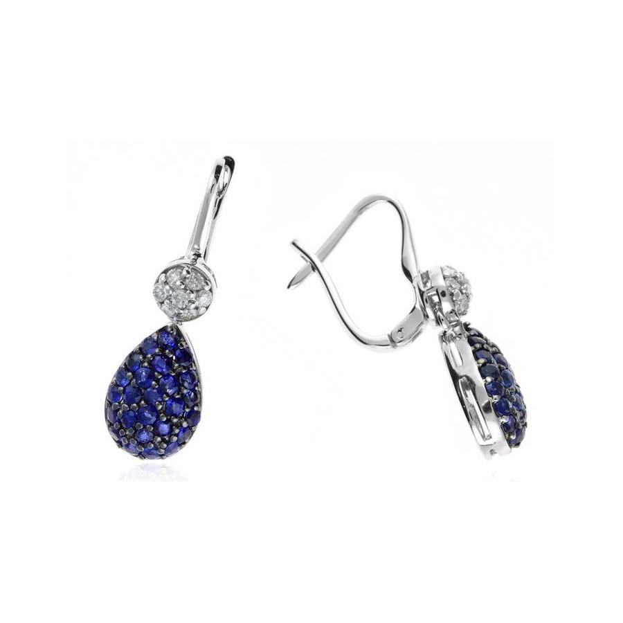 Ryan Gems 14 Karat White Gold Blue Sapphire and Diamond Dangle Earrings