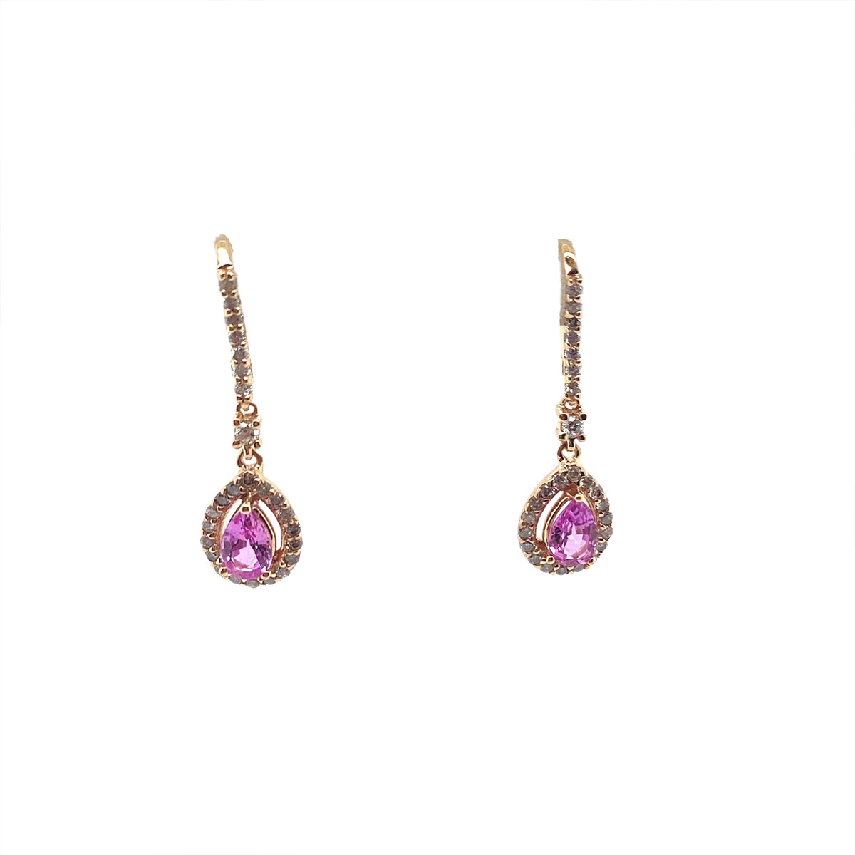 14 Karat Rose Gold Pear Shaped Pink Sapphire and Diamond Earrings