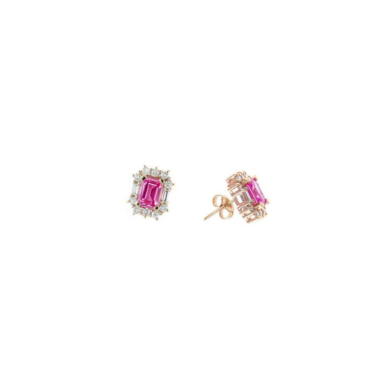 14 Karat Rose Gold Emerald Cut Pink Sapphire and Diamond Earrings