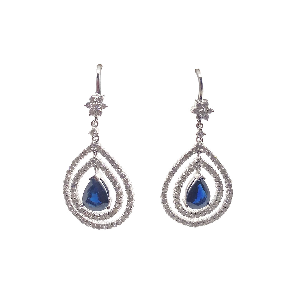 14 Karat White Gold Pear Shaped Blue Sapphire and Diamond Dangle Earrings