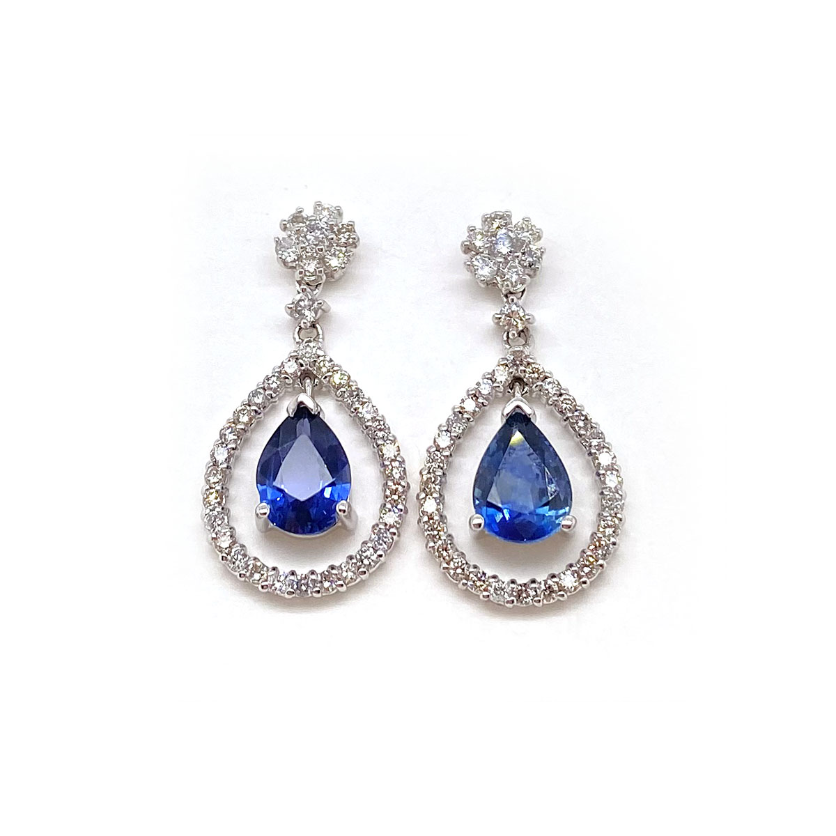 14 Karat White Gold Pear Shaped Blue Sapphire and Diamond Stud Earrings