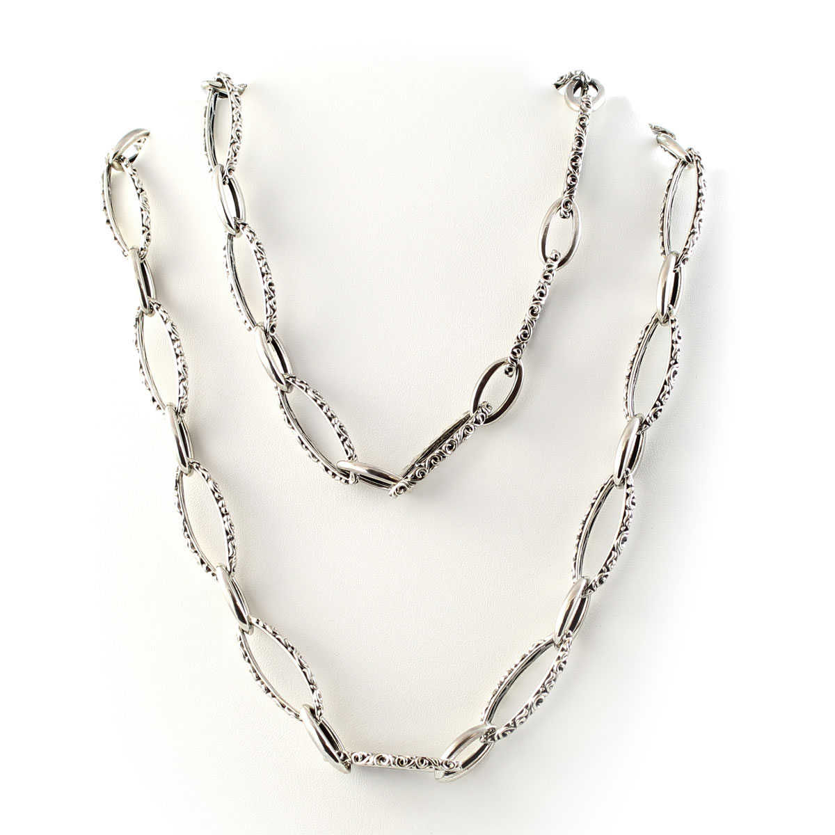 Charles Krypell Sterling Silver Ivy Marquise Link Necklace