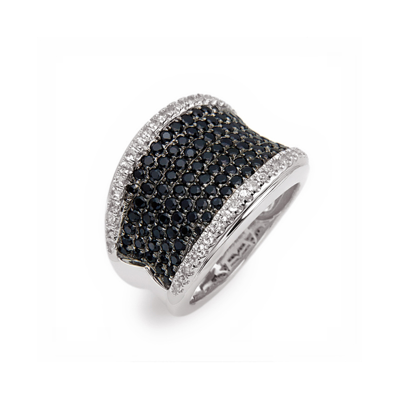 CHARLES KRYPELL BLACK AND WHITE SAPPHIRE PAVE RING