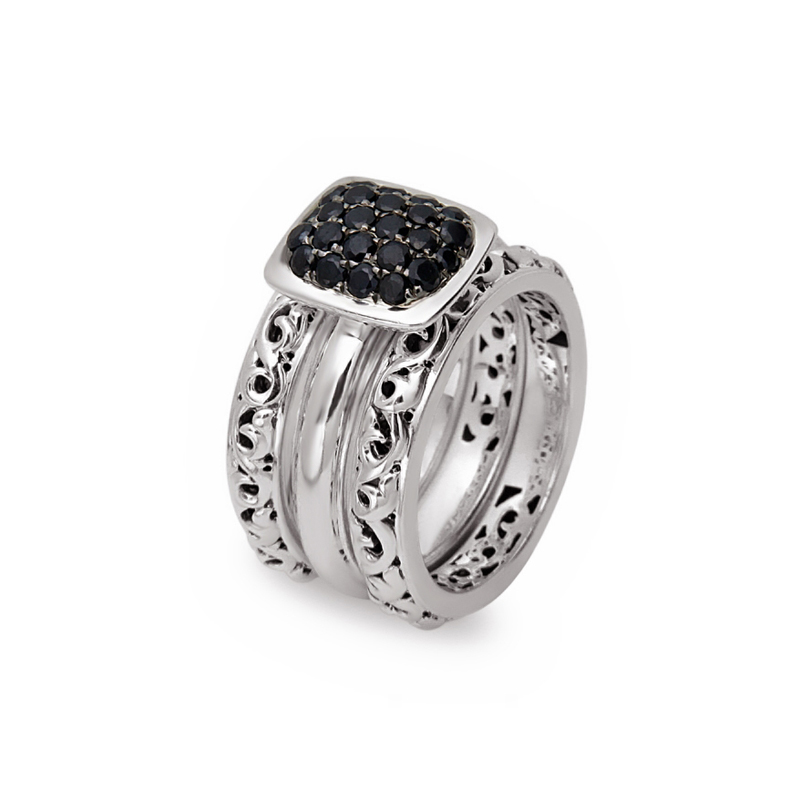 CHARLES KRYPELL BLACK SAPPHIRE PAVE STACKABLE RINGS