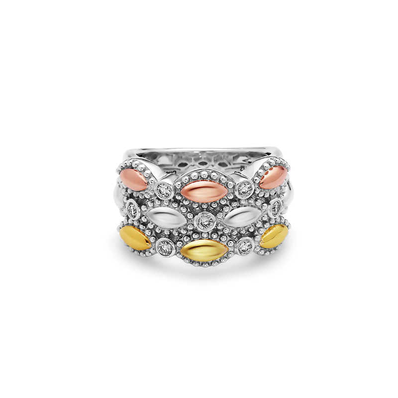 CHARLES KRYPELL FIREFLY TRI TONE TRIPLE BAND RING