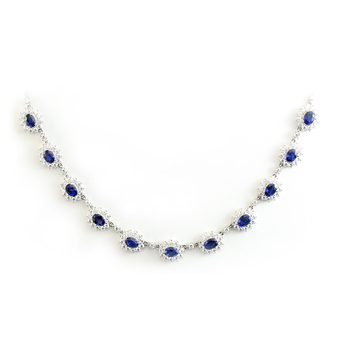 18 Karat White Gold Diamond and Sapphire Link Necklace