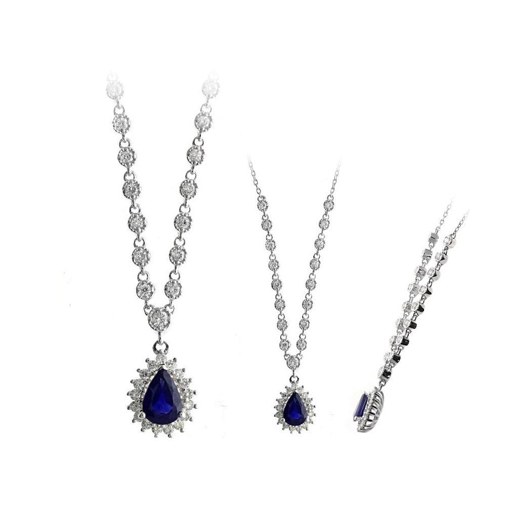 Ryan Gems 14 Karat White Gold Sapphire and Diamond Necklace