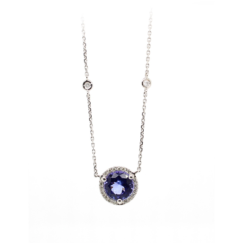 Ryan Gems 14 Karat White Gold Tanzanite and Diamond Necklace