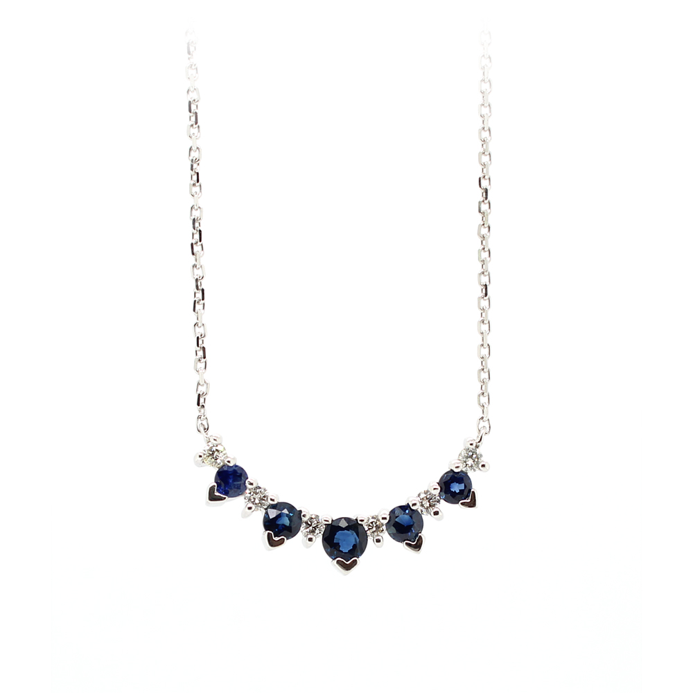 Ryan Gems 14 Karat White Gold Sapphire and diamond Necklace