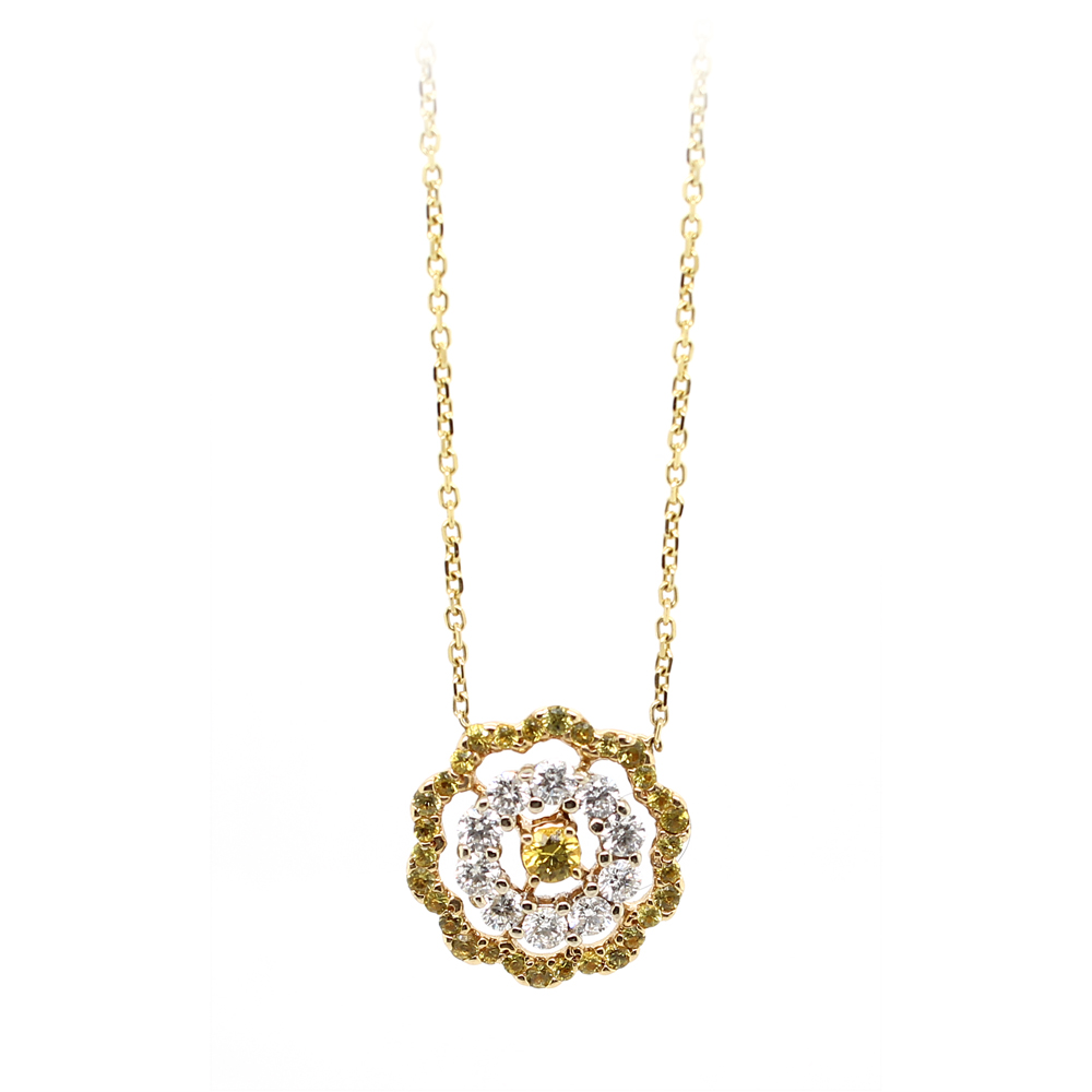 Ryan Gems 14 Karat Yellow Gold Yellow Sapphire and Diamond Necklace