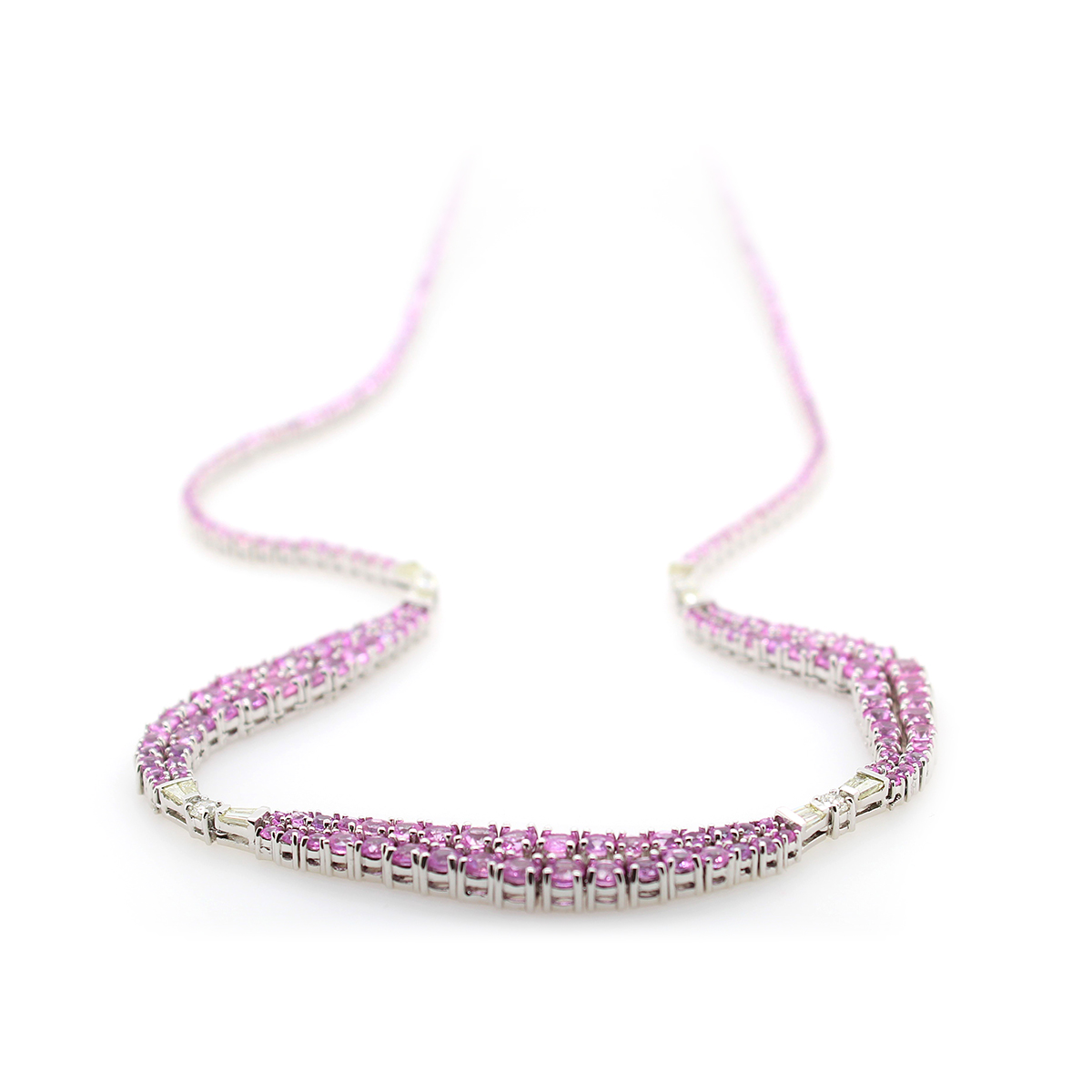 14 Karat White Gold Pink Sapphire and Diamond Necklace