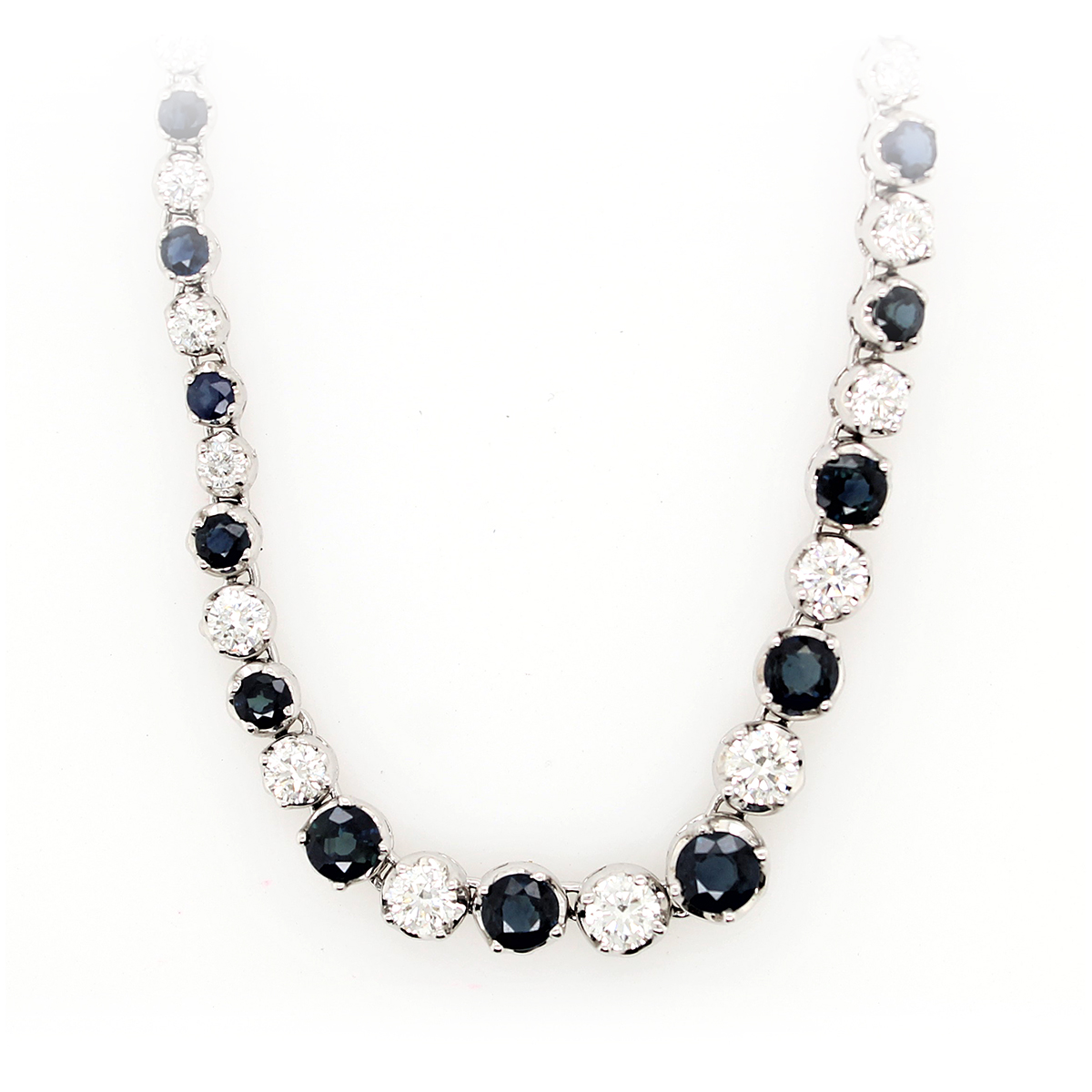 14 Karat White Gold Blue Sapphire and Diamond Necklace