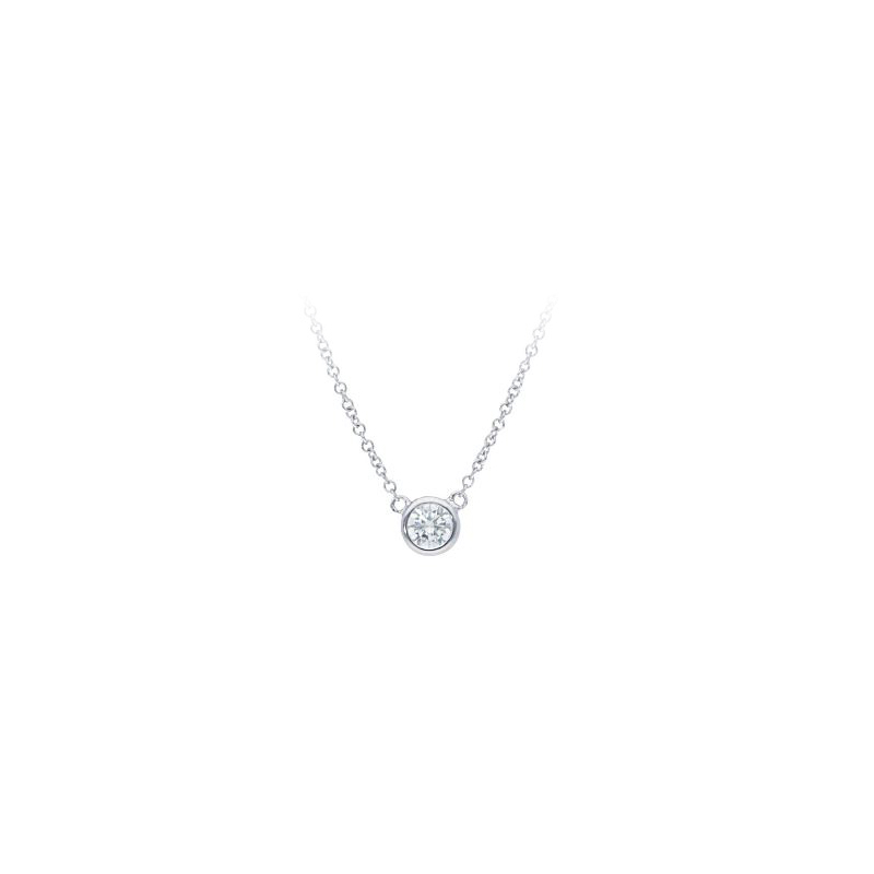 Beny Sofer 14 Karat White Gold Diamond Solitaire Necklace
