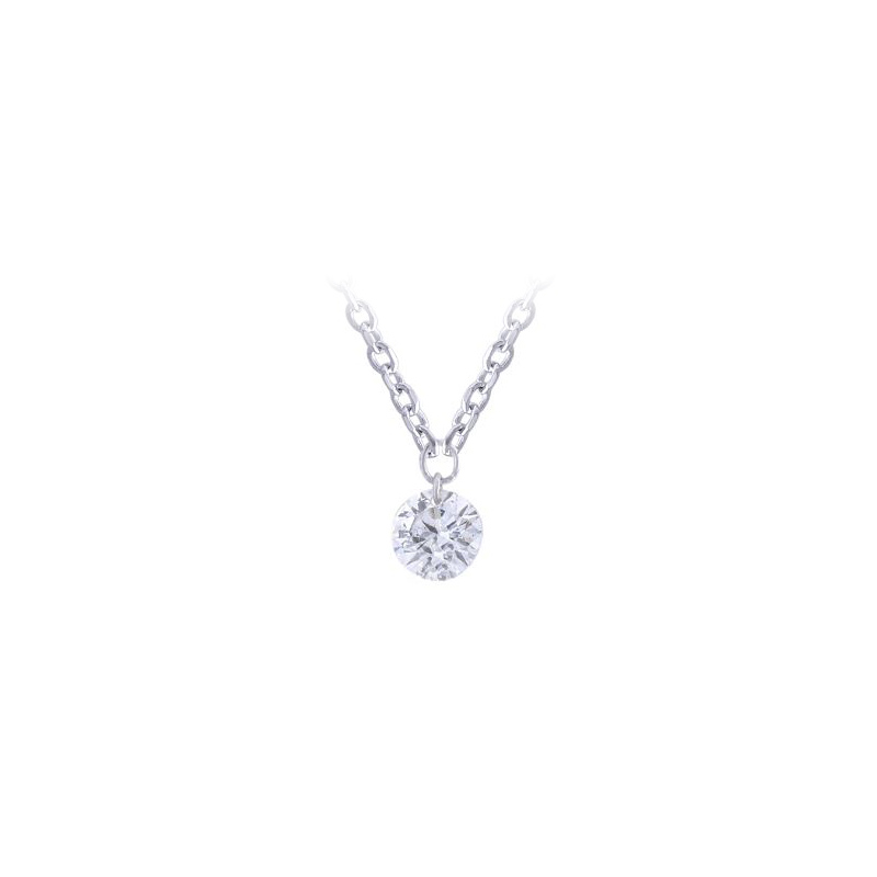 Paramount Gems 14 Karat White Gold Diamond Drop Necklace