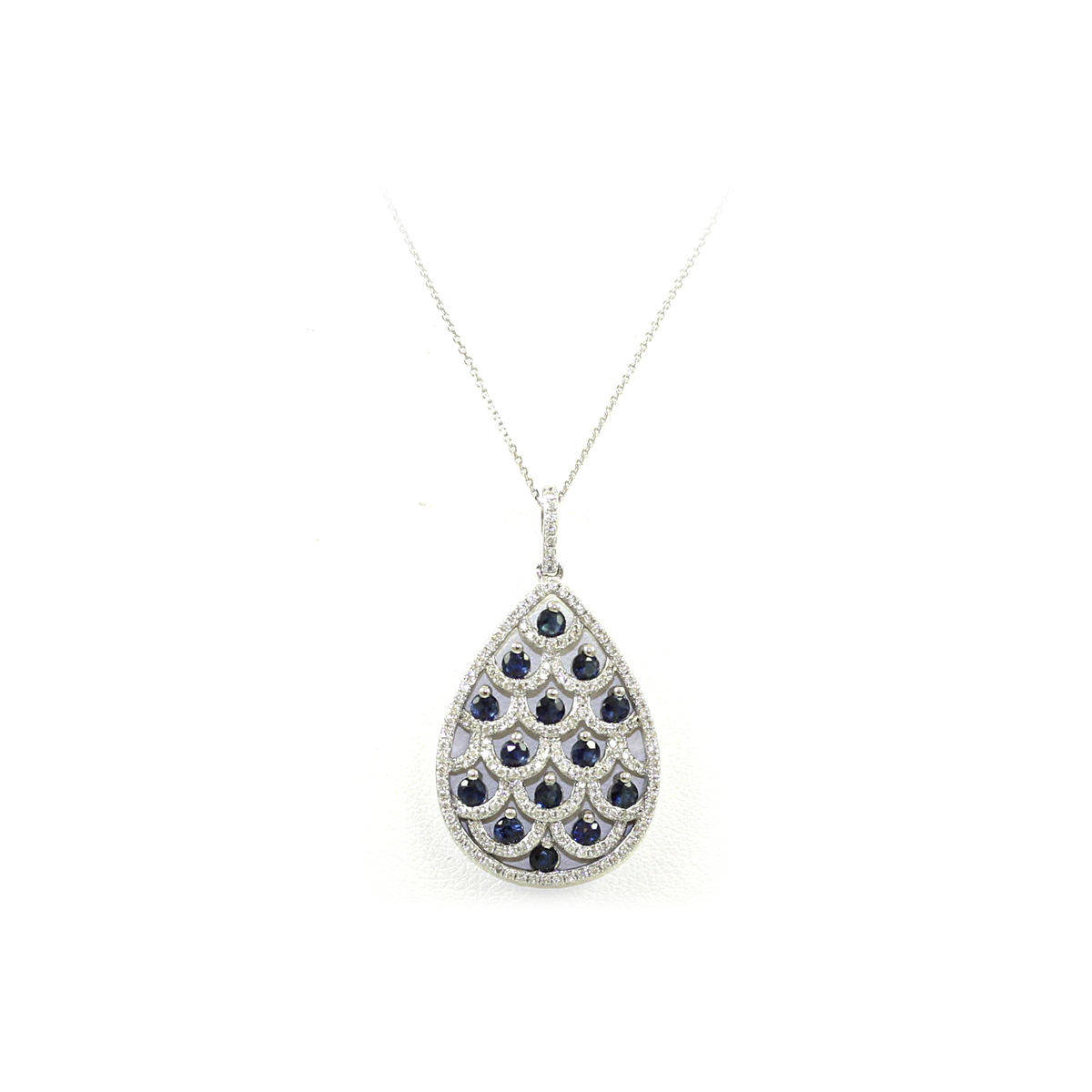 14 Karat White Gold Sapphire and Diamond Teardrop Shaped Pendant Necklace