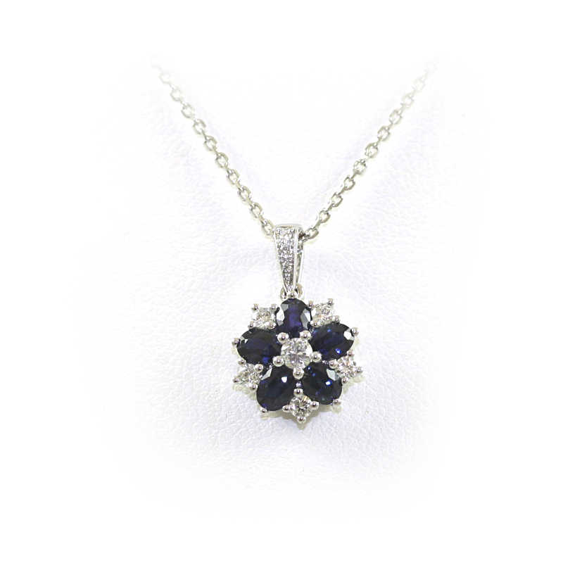 14 Karat White Gold Oval Sapphire Pendant Necklace