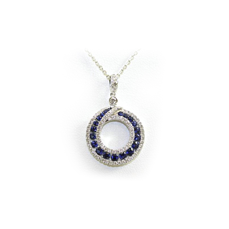 18 Karat White Gold Round Sapphire and Diamond Pendant Necklace