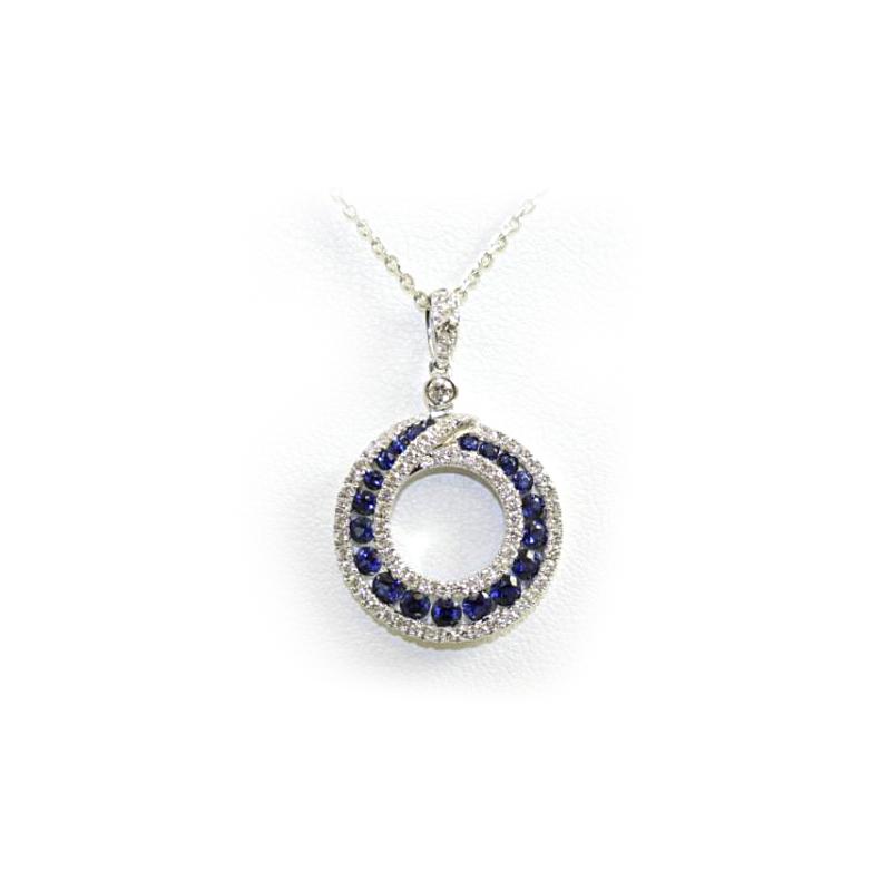 18 Karat White Gold Round Sapphire and Diamond Pendant Necklace
